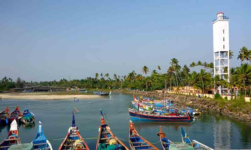 View of traditional fishing boats in Kochi, Kerala