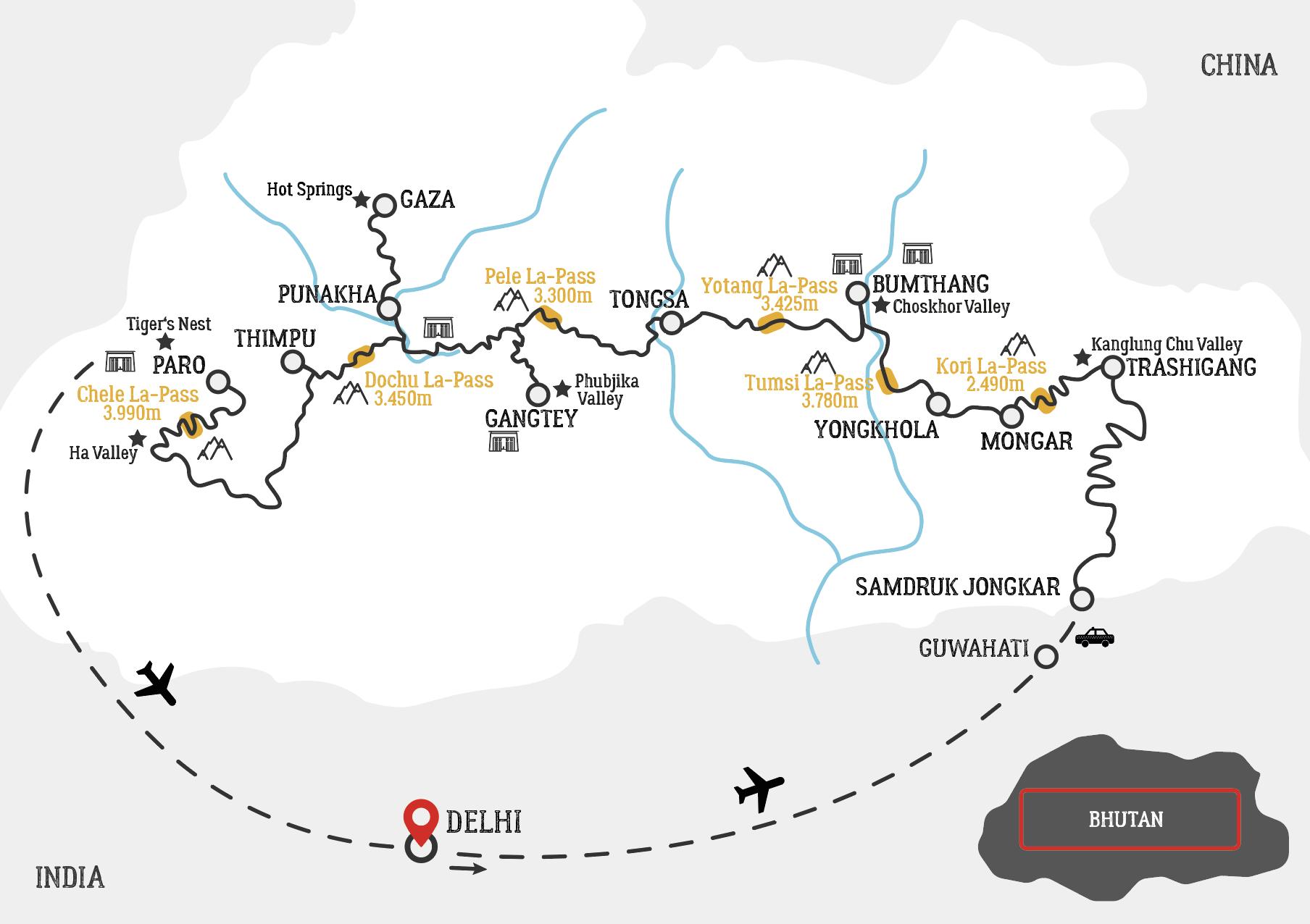 Bhutan intensive motorcycle tour map