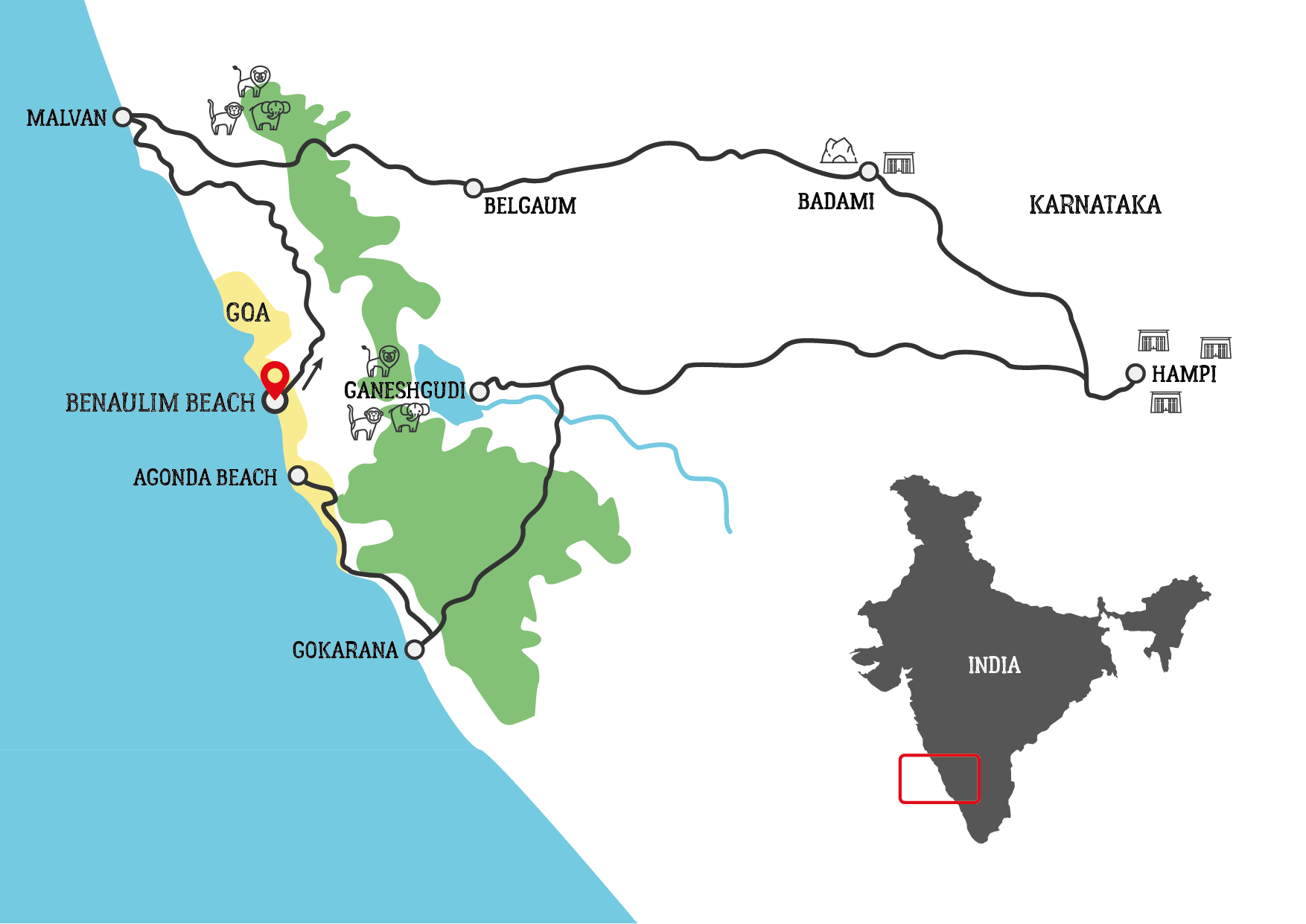 Goa and South India Motorcycle tour map