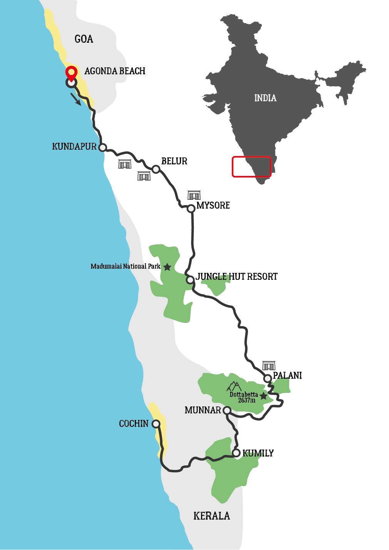 Kerala Motorcycle Tour Map
