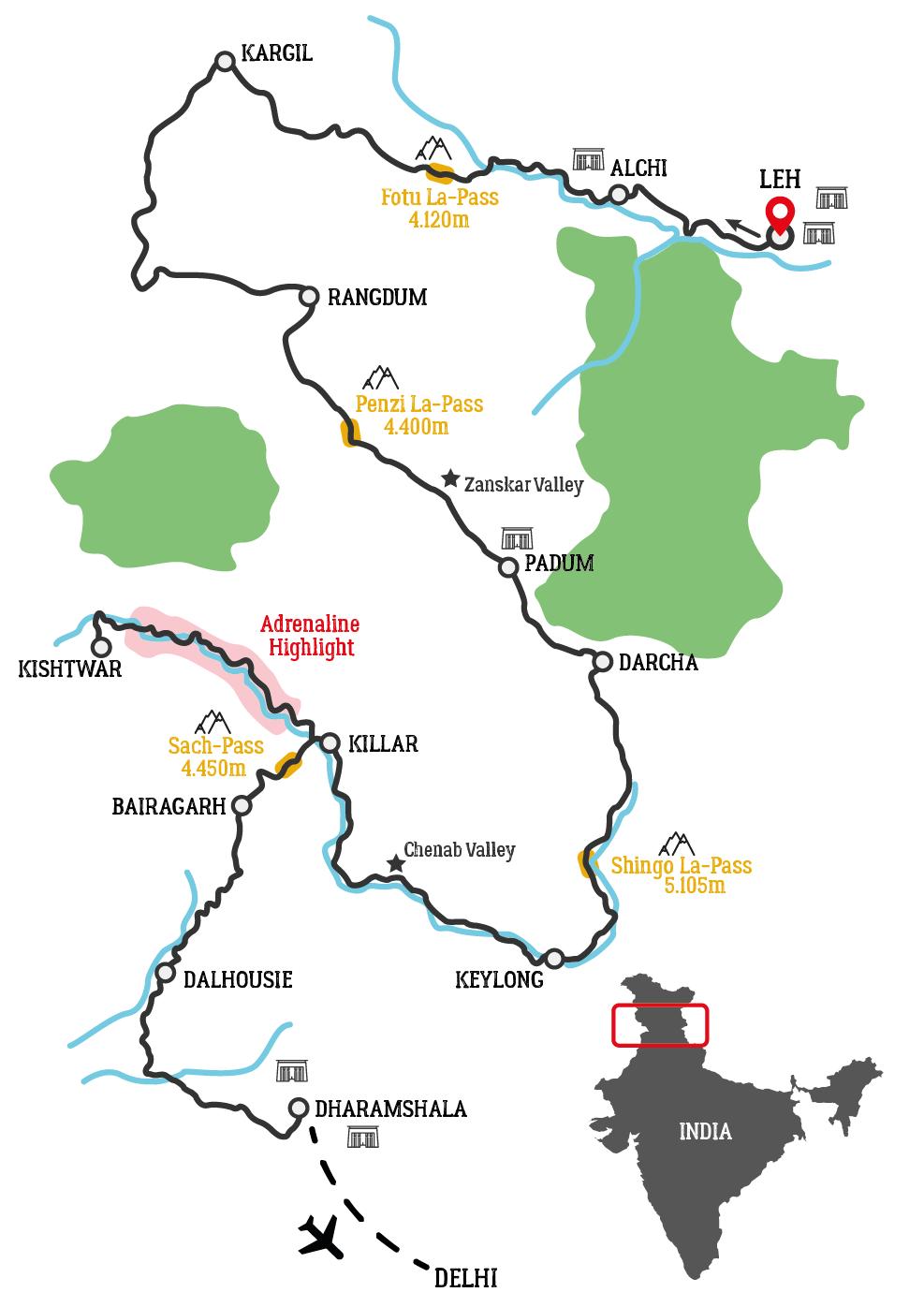 Map of Zanskar and Ladakh Himalaya Motorcycle Tour