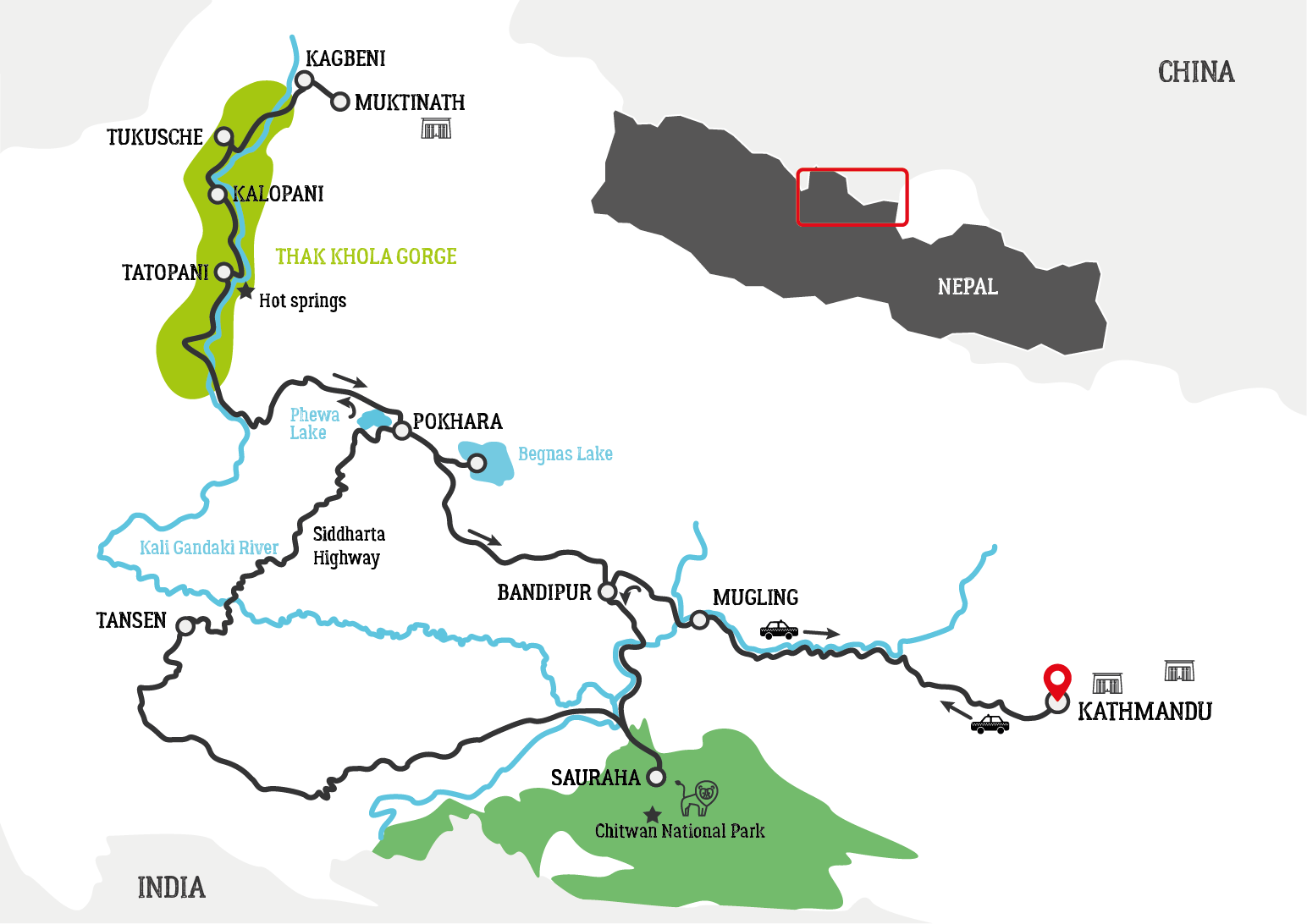 Nepal Mustang motorcycle tour map