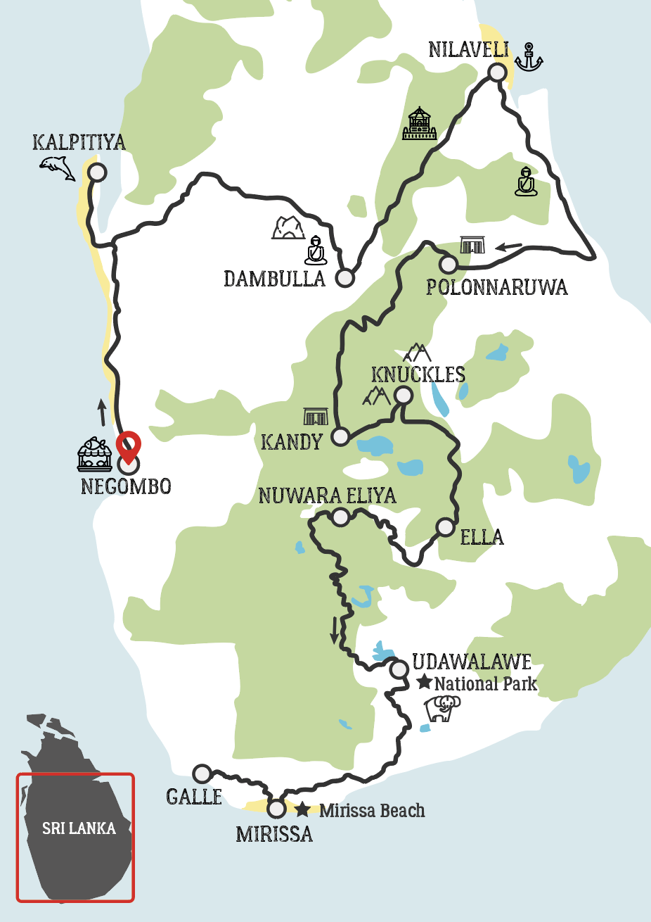 Map of Sri Lanka Motorcycle Tour