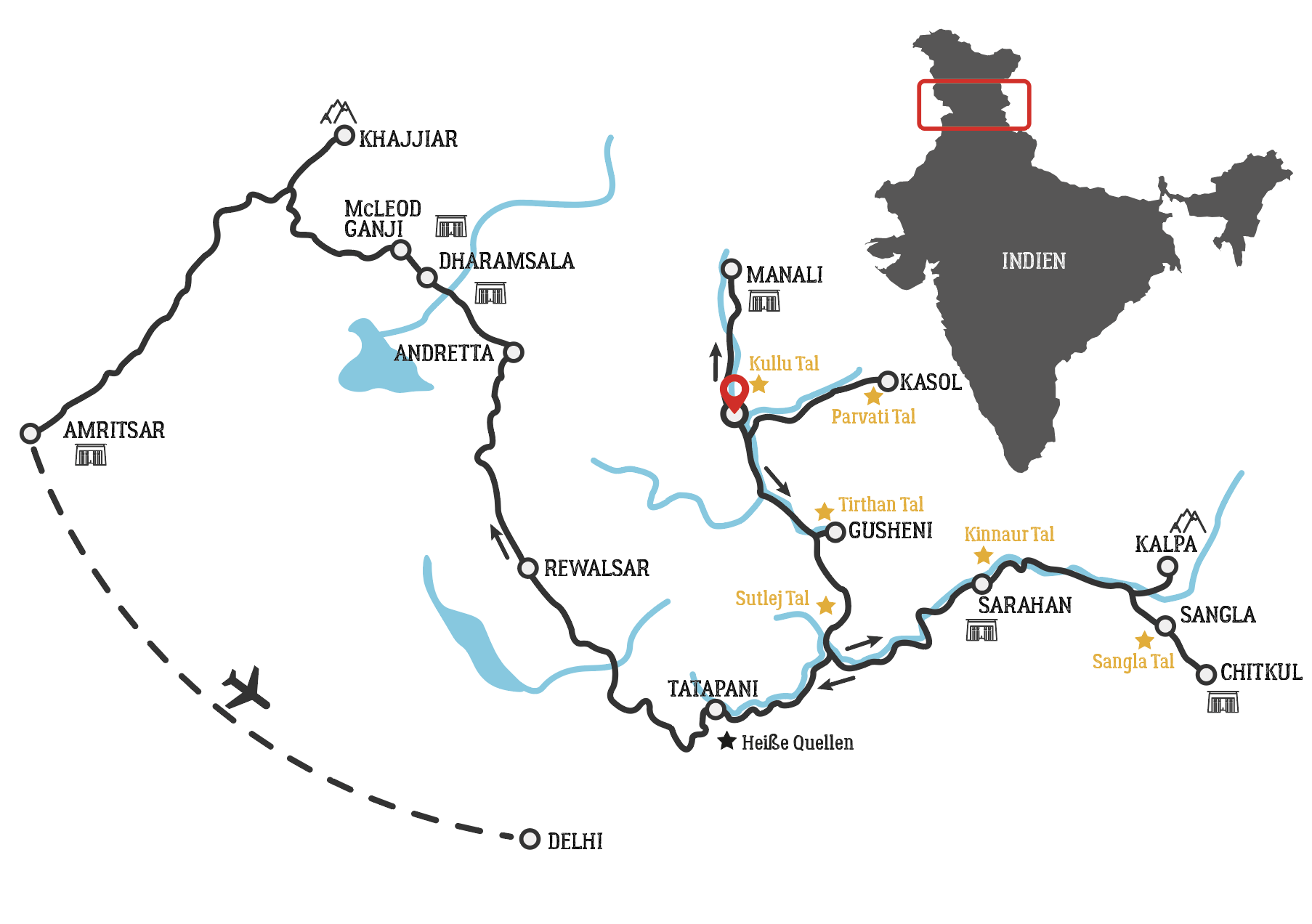 Golden Himalaya motorcycle tour map