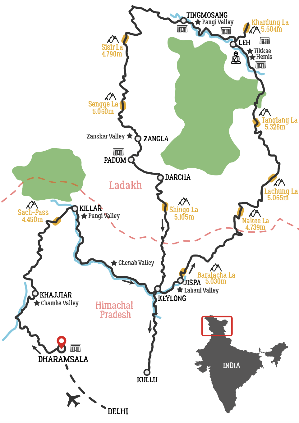 Map of Zanskar and Ladakh Himalaya Motorcycle Tour