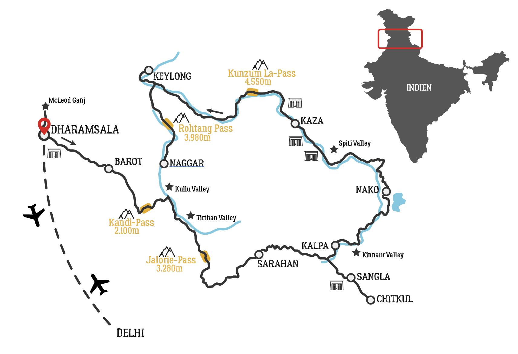 Golden Himalaya motorcycle tour map